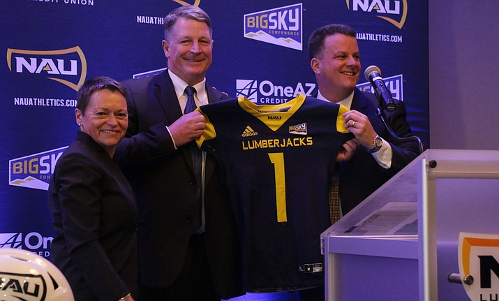 New NAU head football coach Chris Ball at his introductory press conference. Photo courtesy Stayson Isobe, NAU Athletics