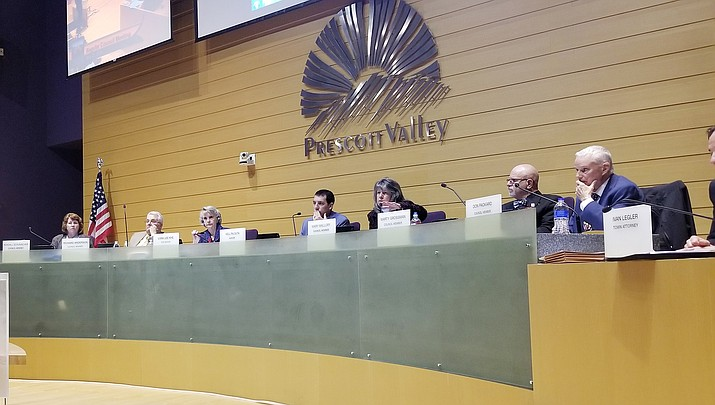 Prescott Valley Town Council during a regular meeting. (Max Efrein/Courier 2019 file photo)