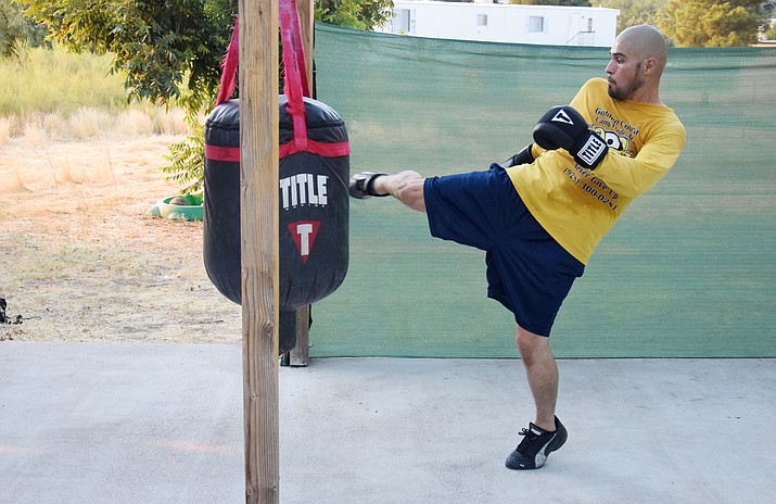 Victor Romero trains for his upcoming fight on Wednesday. Romero will fight in the main event at the 1st Annual Sweet Corn IKF Kickboxing Championships at Cornfest in Camp Verde. VVN/James Kelley