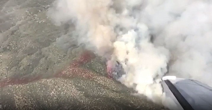 A freeze frame of air attack footage of the northeast corner of the Cellar Fire on July 18. (USFS/Courtesy)