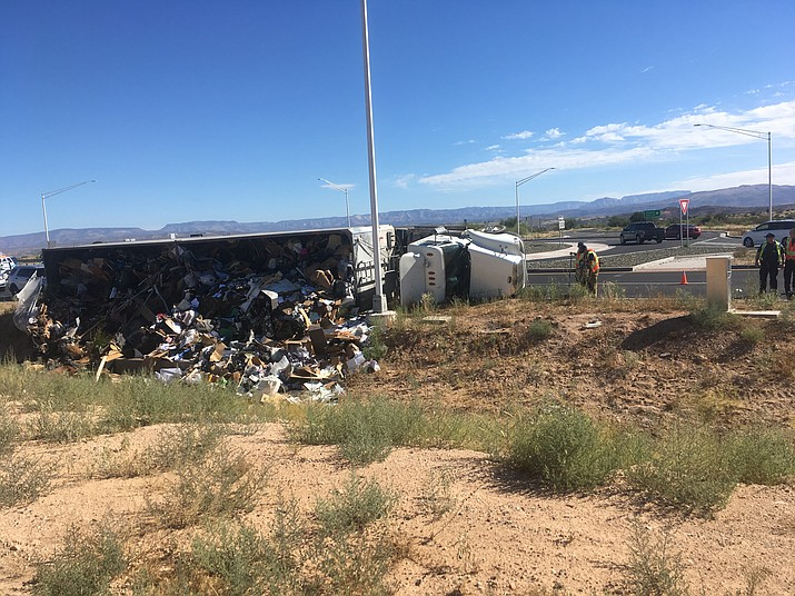 Cottonwood police and the Arizona Department of Public Safety responded to this single big-rig rollover Saturday at about 9 a.m. at the Thousand Trails roundabout on State Route 260. VVN/Vyto Starinskas