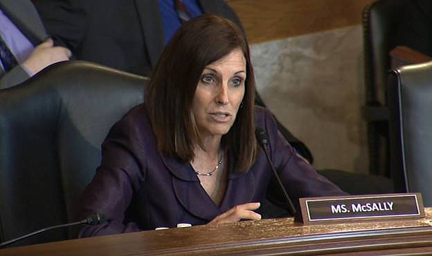 U.S. Sen. Martha McSally speaks during a U.S. Senate Committee on Indian Affairs hearing May 8, 2019. McSally has been fined for campaign violations that occurred during her run for the House in 2014. (Office of U.S. Sen. Martha McSally photo)