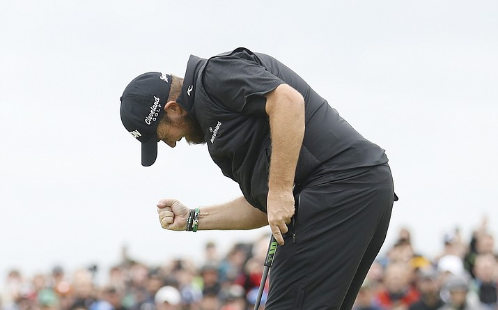 Shane Lowry reacts after making a birdie on the 15th green during the final round of the British Open Golf Championships at Royal Portrush in Northern Ireland, Sunday, July 21, 2019. (Peter Morrison/AP)
