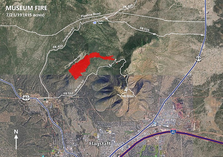 """An estimated 600 additional acres have burned since this map was created by the U.S. Forest Service. Several Flagstaff-area neighborhoods have been placed on """"evacuation SET"""" status."""