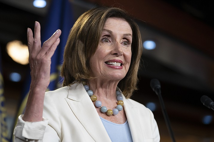 Speaker of the House Nancy Pelosi, D-Calif., holds a news conference on Capitol Hill in Washington, Wednesday, July 17, 2019. (J. Scott Applewhite/AP)