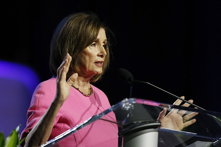 Speaker of the House Nancy Pelosi, D-Calif., addresses the NAACP convention, Monday, July 22, 2019, in Detroit. President Donald Trump and congressional leaders, including Pelosi, announced Monday they had struck a critical debt and budget agreement. (AP Photo/Carlos Osorio)