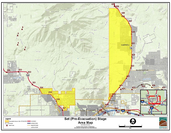 "Additional neighborhoods have been added to the ""Set"" stage pre-evacuation for the Museum Fire in Flagstaff. It now includes west of Weatherford Road, north of 180, Peak View Country Store, Magdalena, Kelly McCoy, Forest Hills, Valley Crest and Locket Meadows. (Coconino County/graphic)"