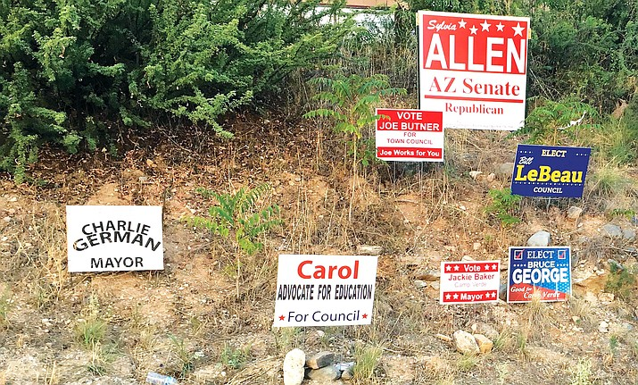 Political signs are not going away in Camp Verde anytime soon. VVN/Bill Helm