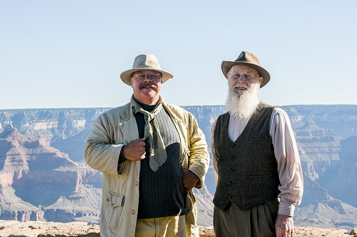Joe Wiegand (left) and Lee Stetsen visited Grand Canyon National Park July 16-17 as re-enactors playing U.S. President Theodore (Teddy) Roosevelt and renowned naturalist John Muir, who is known as the 'Father of the National Parks'. (Terri Attridge/WGCN)