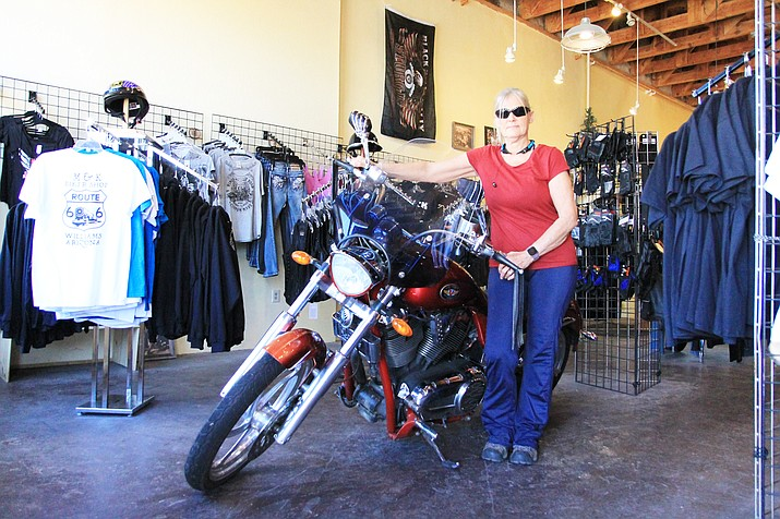 Kathy Rockwell (above) and Mark Fordham have opened M & K Biker Shop in downtown Williams. (Wendy Howell/WGCN)