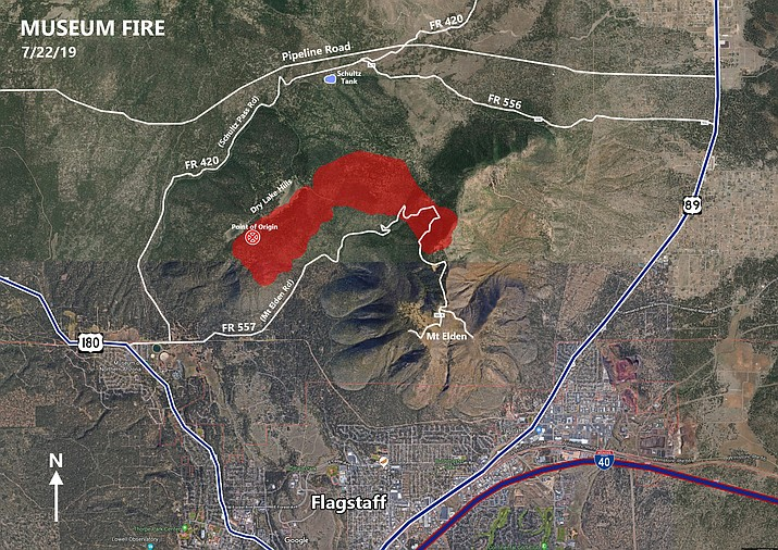 The Type I Southwest Area Incident Management Team 2 will assume command of operations related to the Museum Fire, located about 1 mile north of Flagstaff, at 6 p.m. today. (Coconino National Forest/graphic)