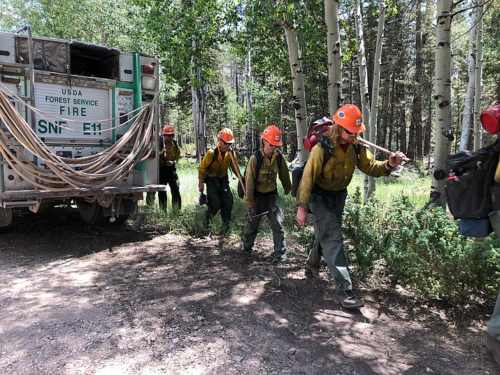 On July 21, wildland fire crews started work on prepping the northern boundary of the planning area.  (Photo/Kaibab National Forest)