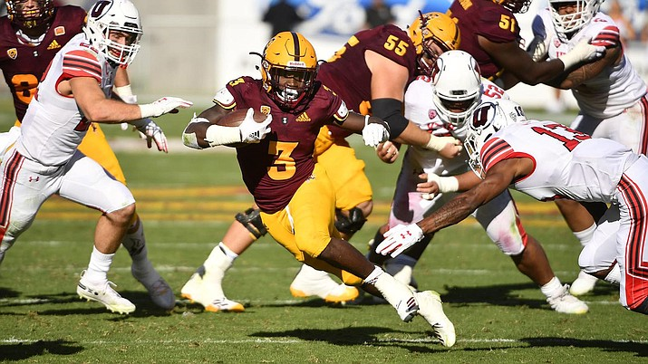 All-American running back Eno Benjamin was named to the first-team All-Pac-12 team Wednesday during Media Day in Los Angeles. (Photo courtesy of ASU Athletics)