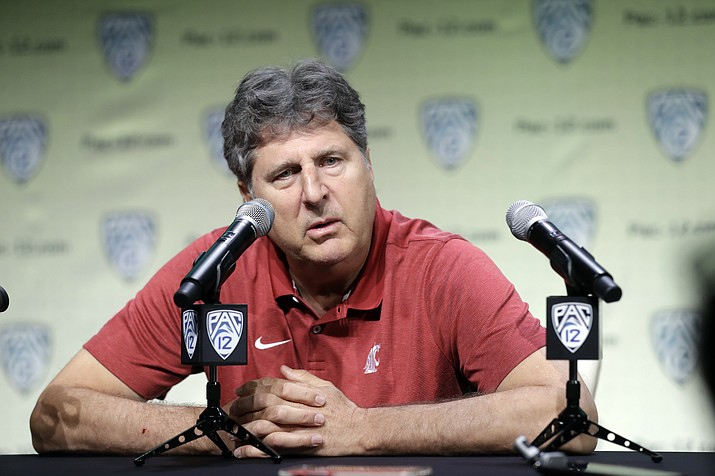 Washington State head coach Mike Leach answers questions during the Pac-12 Conference NCAA college football Media Day Wednesday, July 24, 2019, in Los Angeles. (Marcio Jose Sanchez/AP)
