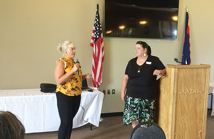Jessi Hans of CCJ, left, and Carole Benedict of US Vets talk about collaboration and efforts to assure no duplication of services among area nonprofit service providers. (Nanci Hutson/Courier)