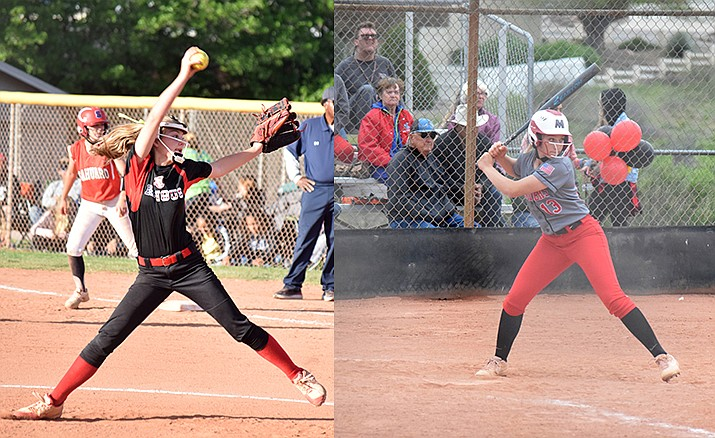 Mingus sophomore Alexis Ayersman (left) and Mingus senior Dylan Sweeney (right) were selected as two of the top 50 top tier softball players in the west region by EXOS and will take part in an instructional showcase in Phoenix. VVN/James Kelley