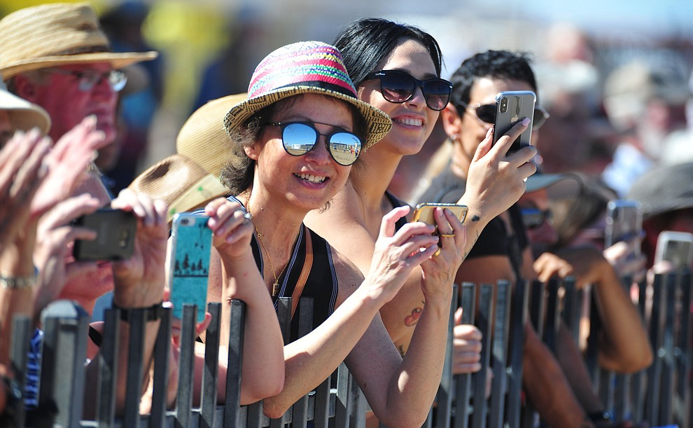 A large crowd was on hand for to watch weiner dog racing action at Arizona Downs in Prescott Valley Saturday July 20, 2019. (Les Stukenberg/Courier)
