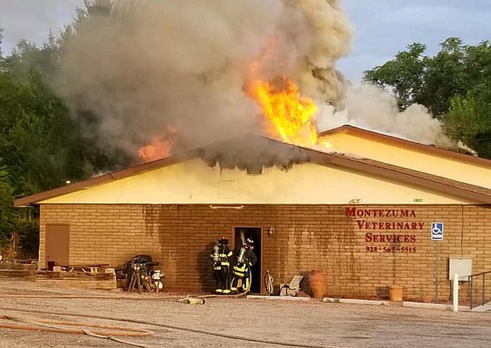 The Camp Verde Marshal's Office along with Verde Valley Fire and Copper Canyon Fire responded to Montezuma Veterinary Services for a structure fire. The fire initially started yesterday evening around 10 p.m. Responders were able to rescue a few animals unfortunately two cats did not make it. The fire reignited this morning around 6 a.m.