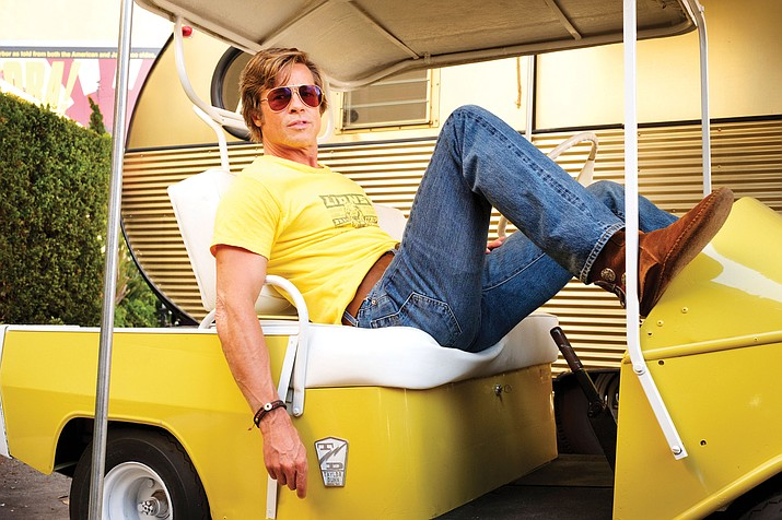 """This image released by Sony Pictures shows Brad Pitt in Quentin Tarantino's """"Once Upon a Time ... in Hollywood."""" (Andrew Cooper/Sony-Columbia Pictures via AP)"""