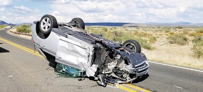 Thursday, the drivers of this vehicle and one other, that collided along Beaverhead Flat Road near Cornville, each ended up in a hospital. Courtesy of Yavapai County Sheriff's Office