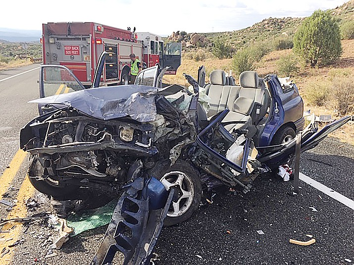 The driver of this SUV was flown to a Phoenix hospital Friday after suffering what appeared to be life-threatening injuries in a head-on collision on Iron Springs Road, the Prescott Fire Department reported. (PFD/Courtesy)