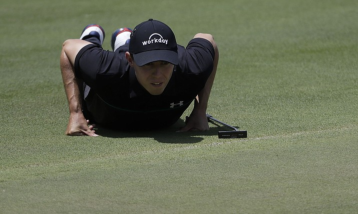 Matthew Fitzpatrick views his putt on the seventh green during the second round of the World Golf Championships-FedEx St. Jude Invitational Friday, July 26, 2019, in Memphis, Tenn. (Mark Humphrey/AP)