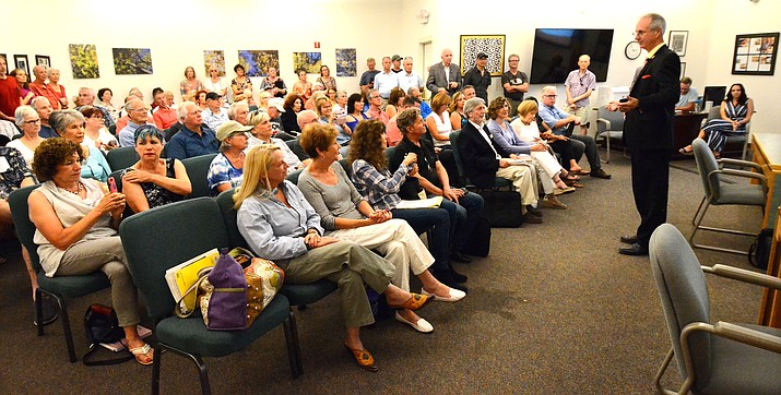 District 6 State Rep. Bob Thorpe addressed more than 200 people and listened to many of them share their concerns about short-term rentals in Sedona in July. A legislative panel is debating whether to restore the right of cities and towns to regulate short-term vacation rentals, a right that legislators and Gov. Doug Ducey took away from them three years ago. VVN file photo/Vyto Starinskas