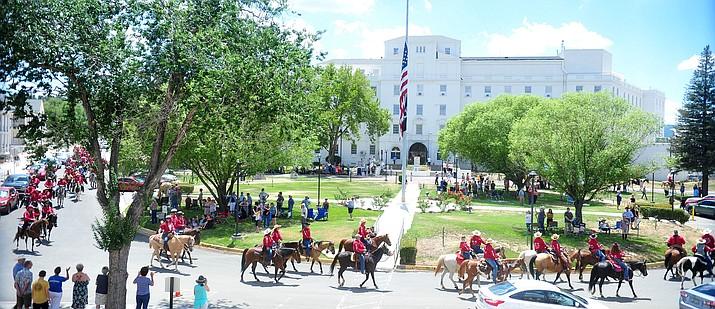 The Prescott Long Riders ride through the VA Hospital in Prescott on Saturday, July 27, 2019. (Les Stukenberg/Courier)