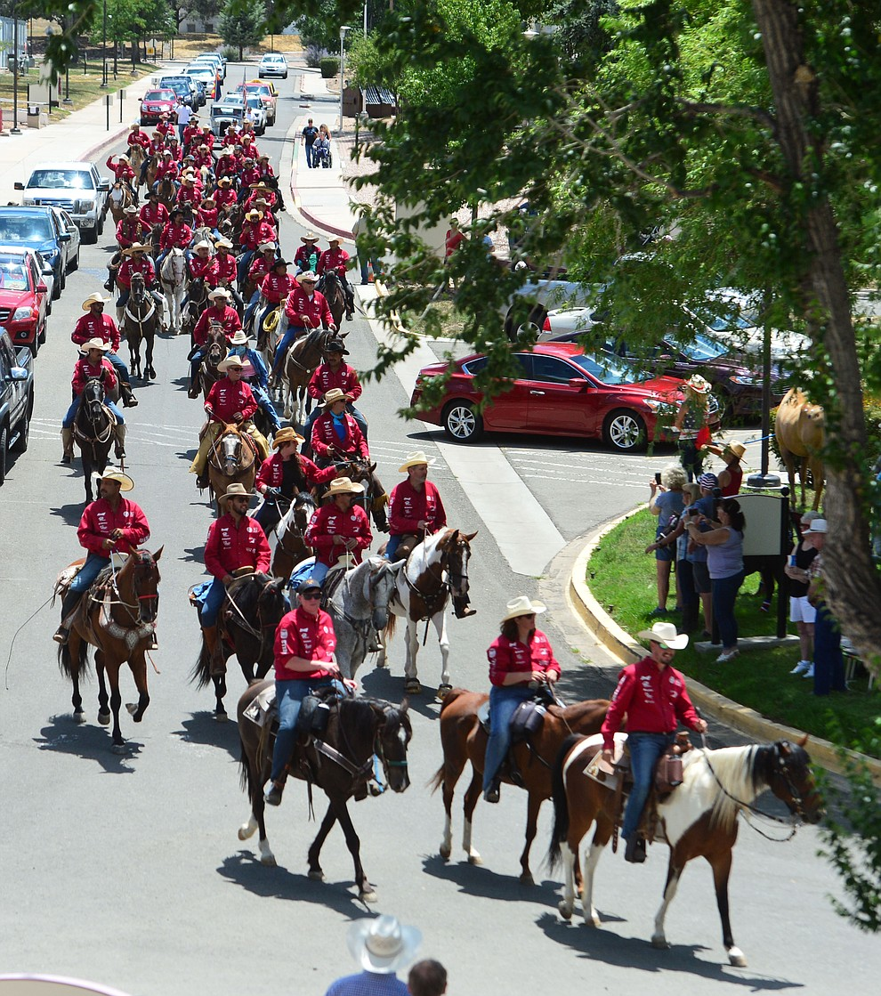 The Prescott Long Riders ride through the VA Hospital in Prescott Saturday July 27, 2019. (Les Stukenberg/Courier)