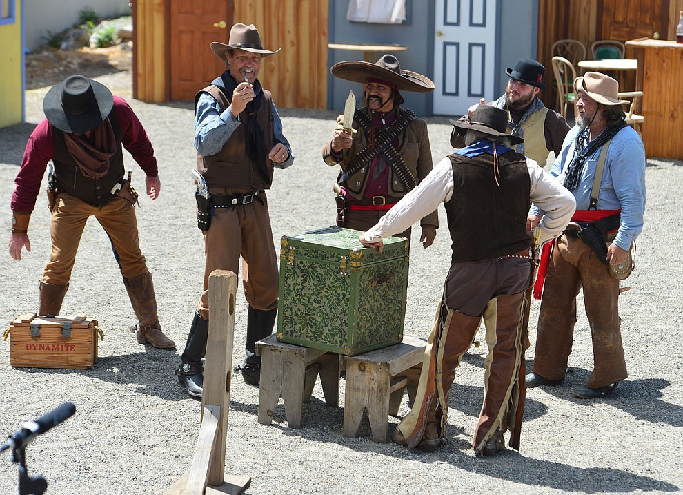 The Superstition Mountain Regulators perform a skit the Whiskey Row Shootout in downtown Prescott Saturday July 27, 2019. (Les Stukenberg/Courier)