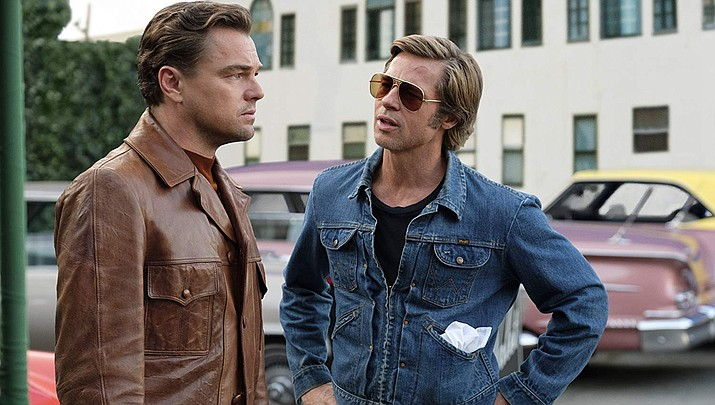 """Actors Leonardo Dicaprio, left, and Brad Pitt are shown in a scene from """"Once Upon a Time in Hollywood."""" (Sony Pictures photo)"""