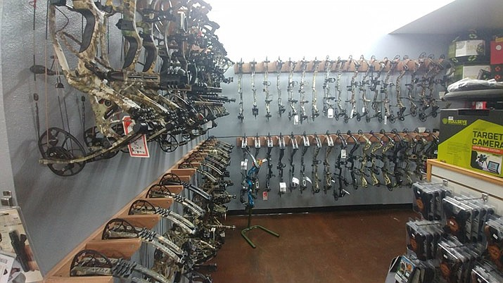 A wide variety of bows are available at Desert Archery on Stockton Hill Road. (Don Martin/Special to the Miner)