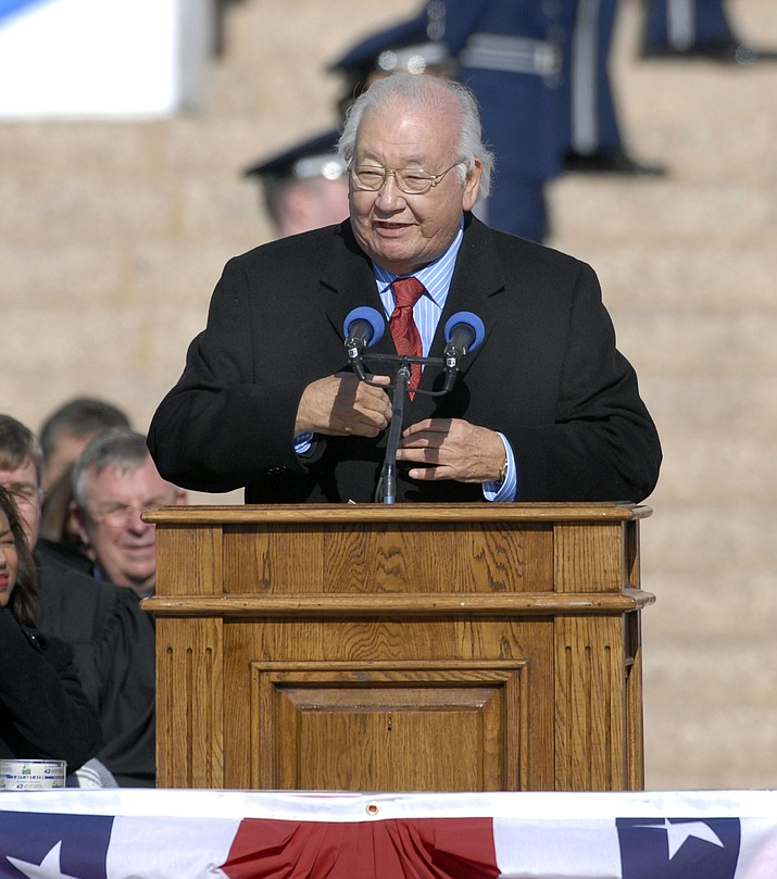 In this 2007 photo, Pulitzer Prize-winning writer N. Scott Momaday recites a poem at the inauguration of Oklahoma Gov. Brad Henry at the State Capitol in Oklahoma City. Dayton Literary Peace Prize officials selected novelist, poet and essayist N. Scott Momaday for the Richard C. Holbrooke Distinguished Achievement Award. (Jerry Laizure/The Norman Transcript via AP)