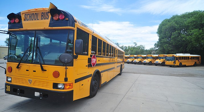 Prescott Unified School District buses are ready to start picking up students as classes resume on Thursday, Aug. 1 (Les Stukenberg/Courier)