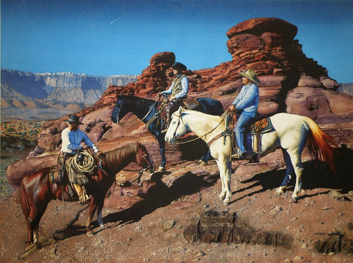 """Riders of the Red Cliffs"" by Marlin Rotach. He was the 2018 Hold Your Horses! People's Choice Award winner and is this year's featured artist. (Phippen Museum/Courtesy)"