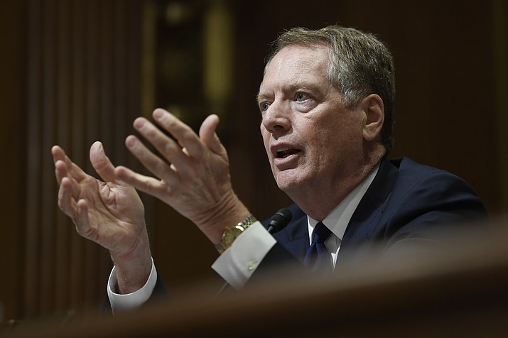"""In this June 18, 2019, file photo, U.S. Trade Representative Robert Lighthizer testifies before the Senate Finance Committee on Capitol Hill in Washington. Congressional Democrats appear to be moving from """"no way'' to """"maybe'' on President Donald Trump's rewrite of a trade pact with Canada and Mexico. House Democrats have met four times with Lighthizer, most recently on Friday, July 26, and both sides say they are making progress toward a deal that would clear the way for Congress to approve Trump's U.S.-Mexico-Canada Agreement, or USMCA. (AP Photo/Susan Walsh, File)"""