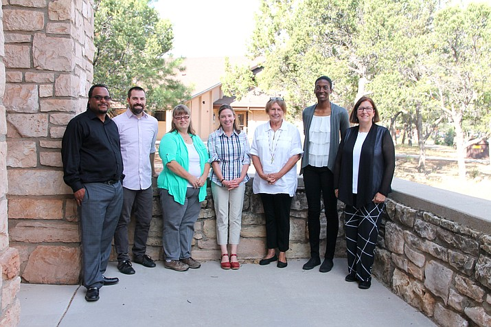 Grand Canyon School welcomes seven new teachers this year. From left: Boaz Curry-El, Thomas Washington, Ronda Wolf, Jennifer Beebe, Cathey Griffin, Catheryn Redmon and Rebecca Markstein. (Erin Ford/WGCN)
