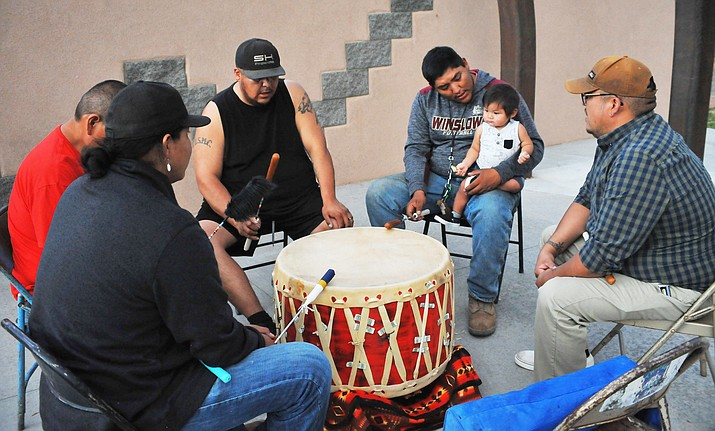 During the summer months on most Wednesday evenings, Standing Horse Drum Group can be heard playing in downtown Winslow. The drum group performs at Route 66 Park from 7-9 p.m.(Todd Roth/NHO)
