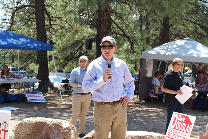 U.S. Rep. Paul Gosar (R-Prescott) speaks at the 74th annual Mohave County Republican Party picnic in 2018. (Daily Miner file photo)