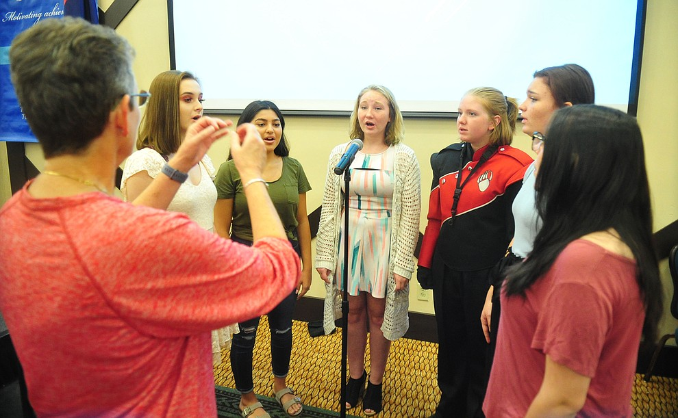 Bradshaw Mountain High School Choir members sing the National Anthem as the Humboldt Unified School District held their 5th convocation at the Prescott Resort Friday, August 2, 2019. (Les Stukenberg/Courier)