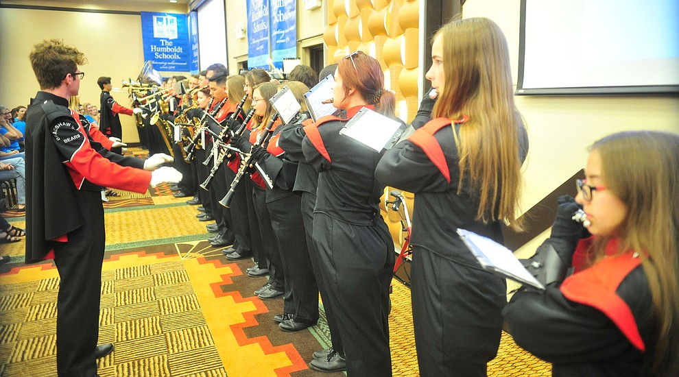 The Bradshaw Mountain High School marching band plays as the Humboldt Unified School District held their 5th convocation at the Prescott Resort Friday, August 2, 2019. (Les Stukenberg/Courier)