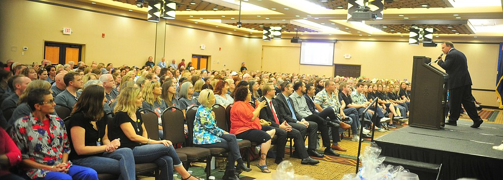 Assistant Superintendent Cole Young talks to the 805 employess as the Humboldt Unified School District held their 5th convocation at the Prescott Resort Friday, August 2, 2019. (Les Stukenberg/Courier)