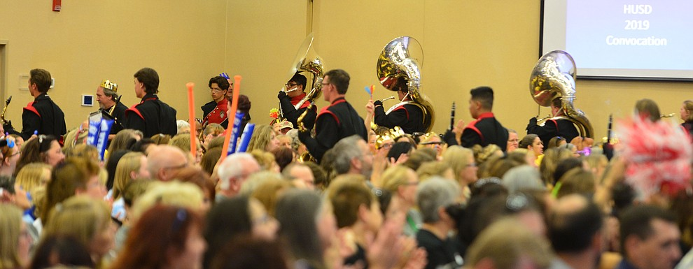 The Bradshaw Mountain High School marching band leaves the room as the Humboldt Unified School District held their 5th convocation at the Prescott Resort Friday, August 2, 2019. (Les Stukenberg/Courier)