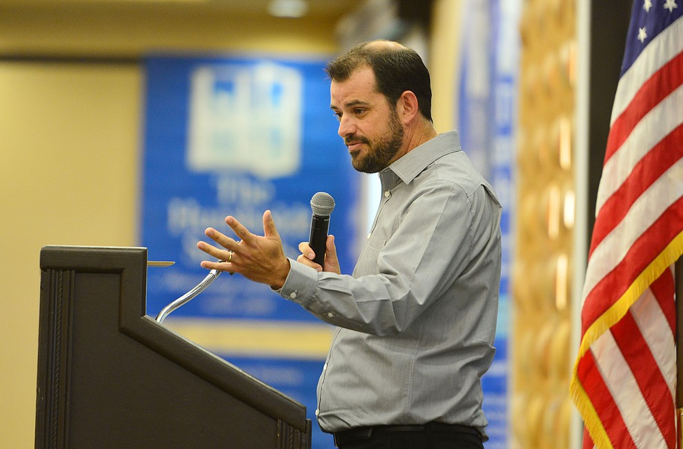 Humboldt Unified School District Governing Board President Ryan Gray speaks the the district held their 5th convocation at the Prescott Resort Friday, August 2, 2019. (Les Stukenberg/Courier)