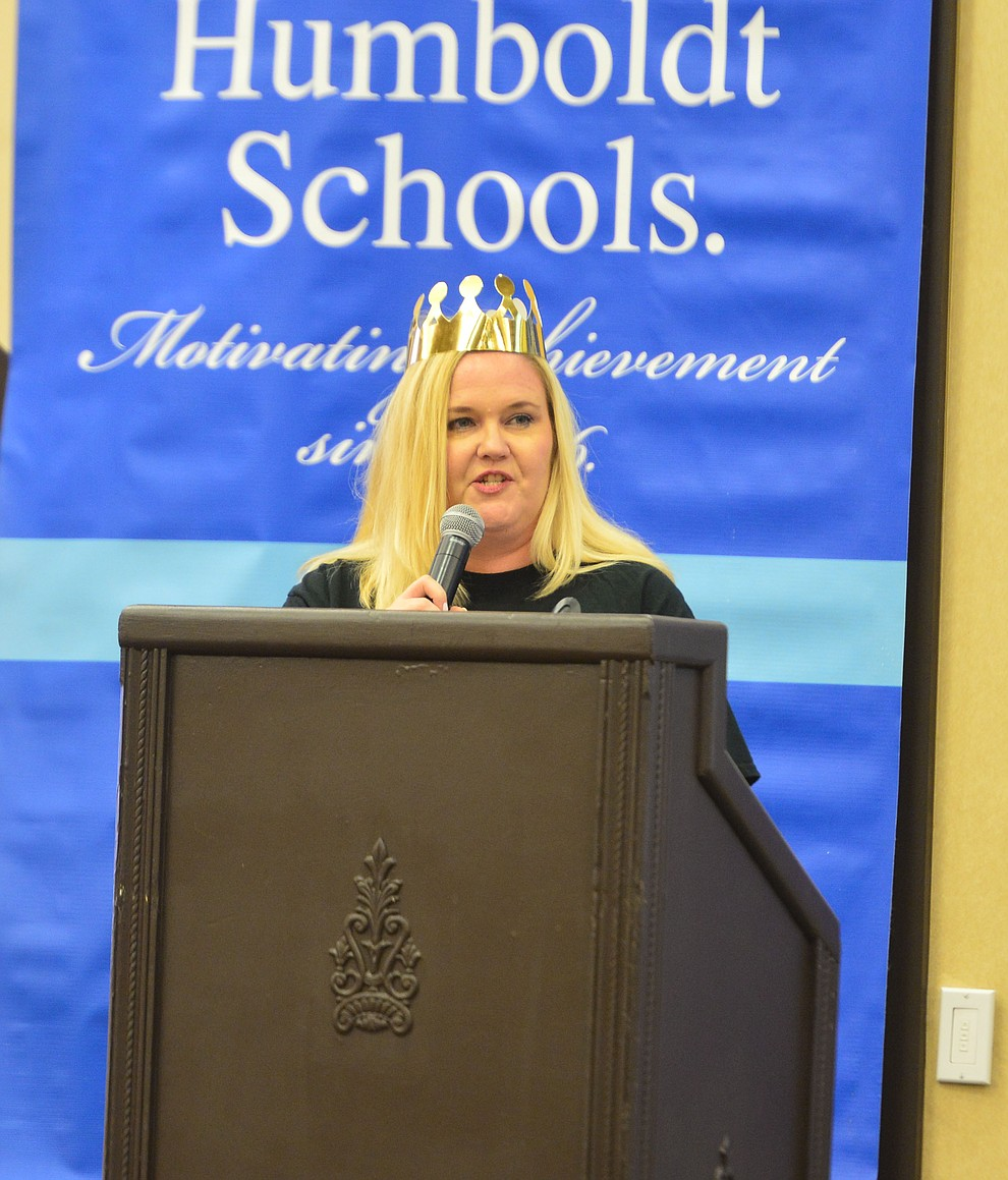 Humboldt Education Association President Amy Bowser speaks as the Humboldt Unified School District held their 5th convocation at the Prescott Resort Friday, August 2, 2019. (Les Stukenberg/Courier)