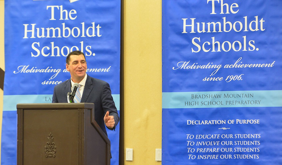 Humboldt Unified School District Superintendent Dan Streeter speaksas the district held their 5th convocation for 805 employees at the Prescott Resort Friday, August 2, 2019. (Les Stukenberg/Courier)