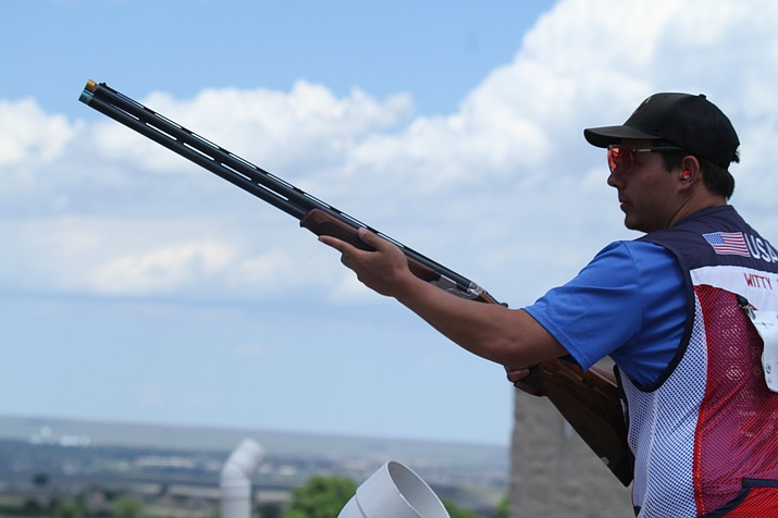 Joe Witty prepares to shoot at a clay pigeon during one of his rounds at the USAS National Championships from June 4-23 in Colorado Springs, Colo. If Witty performs well at the USAS Fall Selection/Olympic Trails Part 1 match in Kerrville, Texas, in September, he will qualify for the 2020 Olympic Summer Games in Tokyo. (Brian Witty/Courtesy)