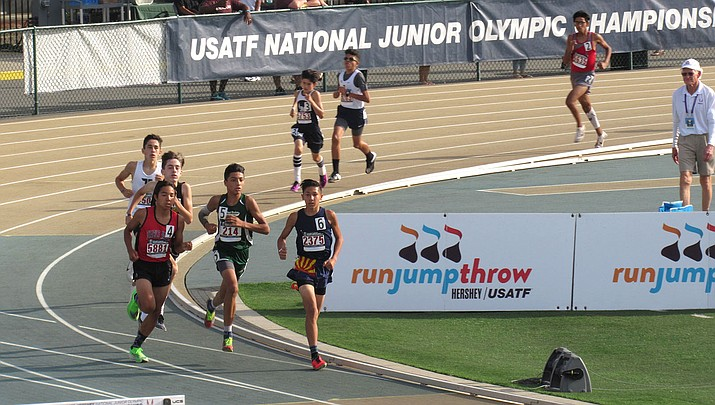 Wyatt Pickering, far right, runs during the USA Track and Field Junior Olympic National Meet at Sacramento State University. (Courtesy)
