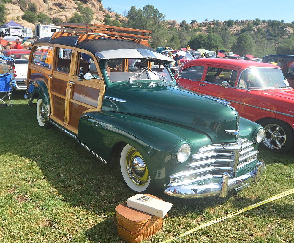 A 1948 Chevrolet Woody at the 45th Annual Prescott Antique Auto Club Watson Lake Car Show Saturday, August 3, 2019, in Prescott. The show continues Sunday from 8 a.m. to 3 p.m. (Les Stukenberg/Courier)