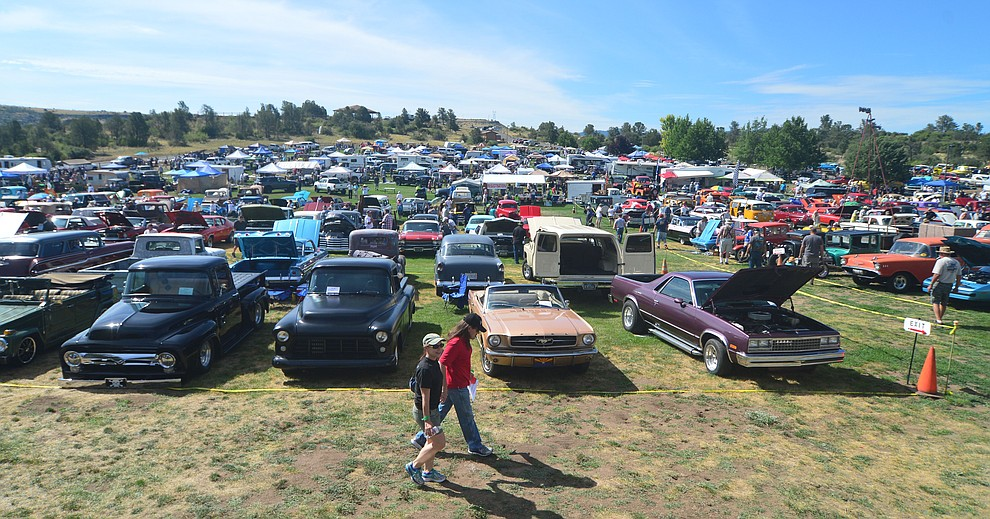 Cars, rucks and even a mototrcycle or two at the 45th Annual Prescott Antique Auto Club Watson Lake Car Show Saturday, August 3, 2019, in Prescott. The show continues Sunday from 8 a.m. to 3 p.m. (Les Stukenberg/Courier)